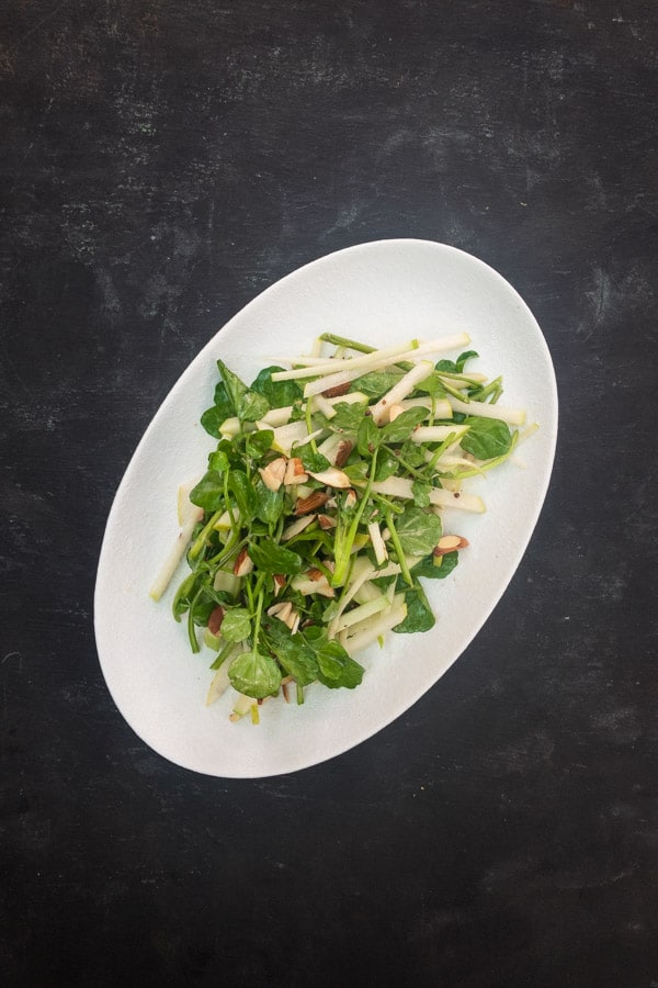 Apple pear almond and watercress salad
