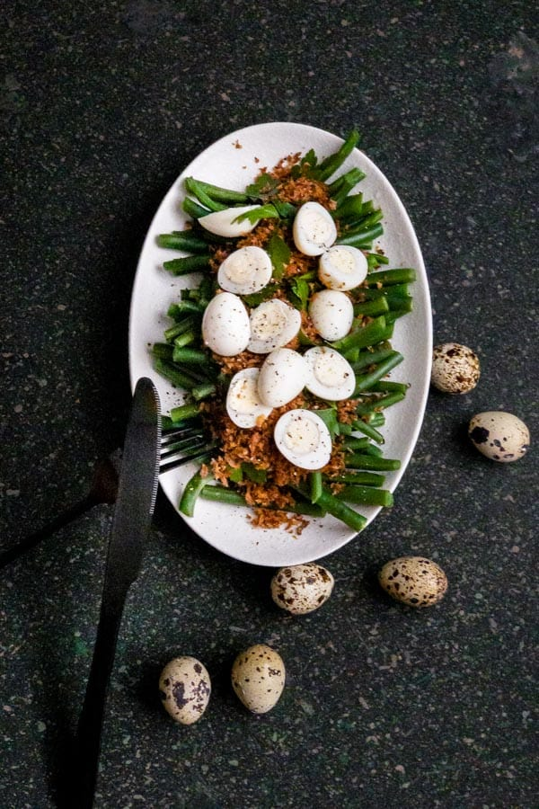 Green Bean, Truffle Butter Breadcrumbs and Quail Egg Salad