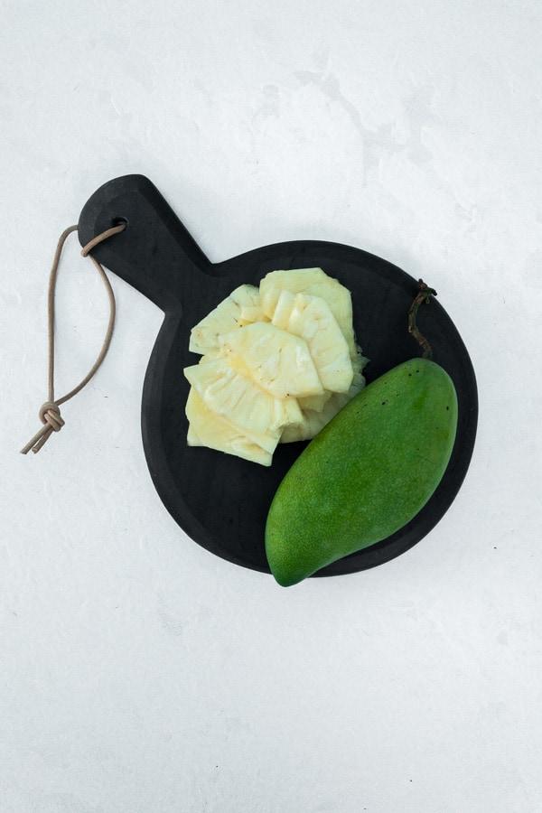 green mango salad sliced pineapple