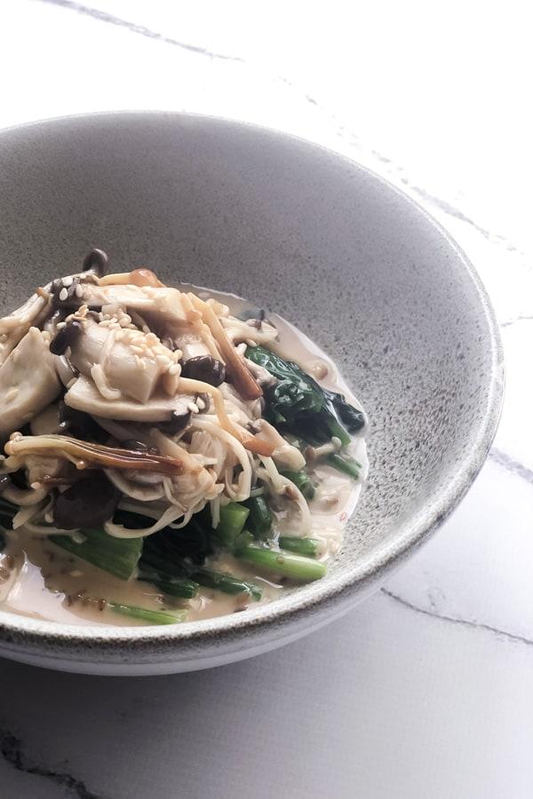 Marinated Japanese Mushroom Salad with Sesame Spinach