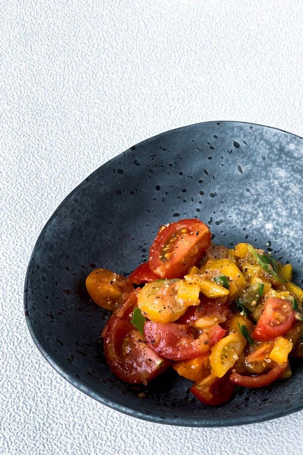 Cherry Tomato Salad with Peach Chutney Dressing