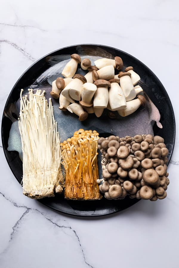 Mushroom salad with enoki, gold enoki, shimeji and oyster mushrooms