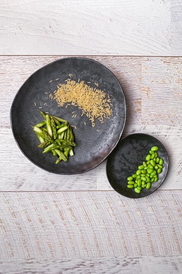 edamame salad risoni asparagus