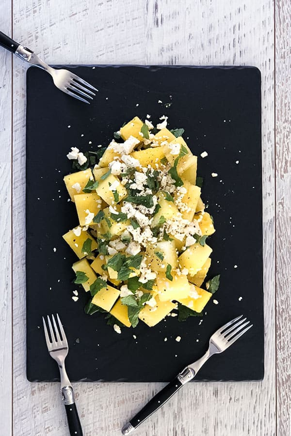 Yellow Watermelon Feta Salad with Mint