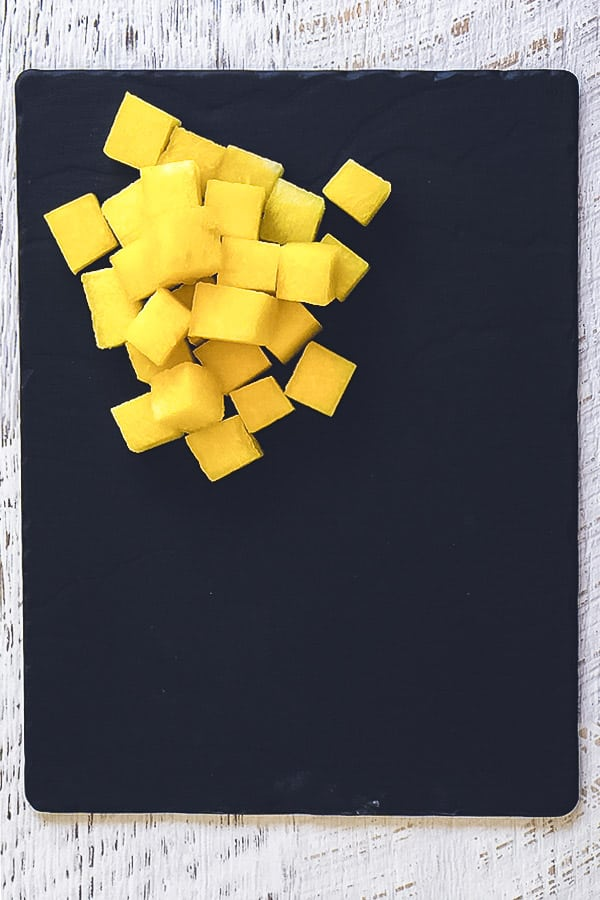 yellow watermelon cut in cubes