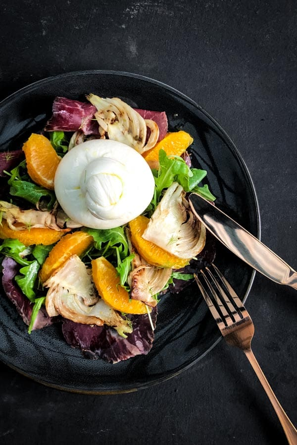 Bresaola, Charred Fennel and Orange Salad with Burrata