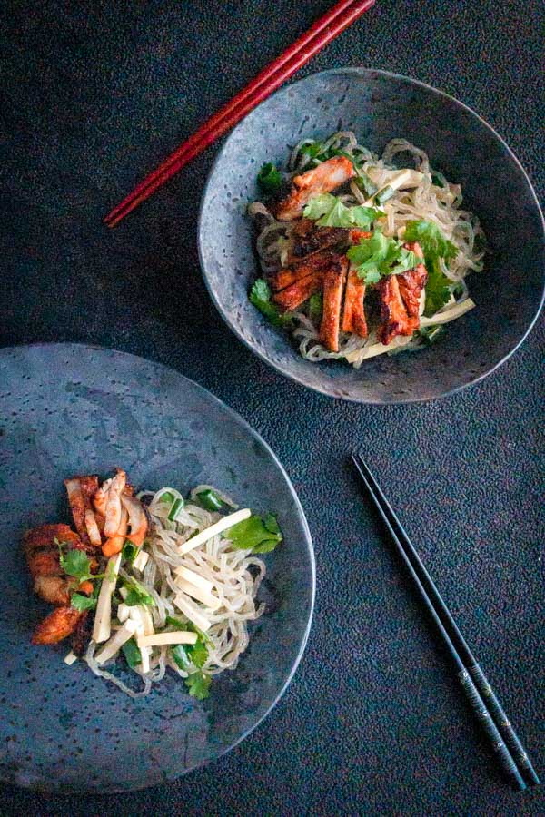 Gochujang Chicken Noodle Salad with Sliced Tofu
