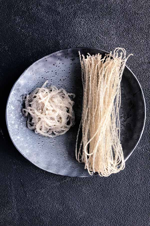 Korean sweet poato noodles cooked and uncooked