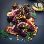 Roasted Beetroot Salad with Halloumi and Pomegranate Glaze