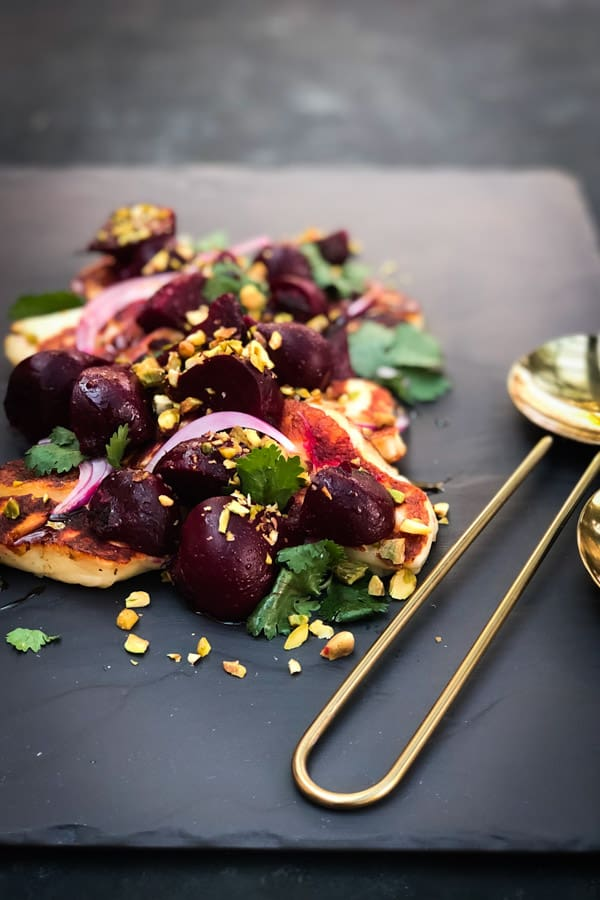 Roasted Beetroot Salad with Halloumi and Pomegranate Glaze Gold Salad Servers