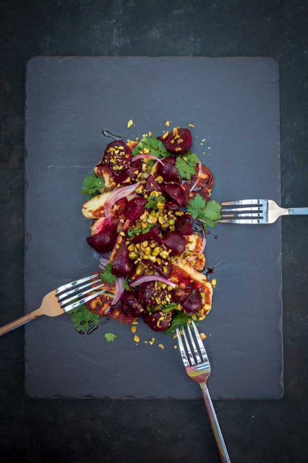 Roasted Beetroot Salad with Halloumi and Pomegranate Glaze Silver Forks