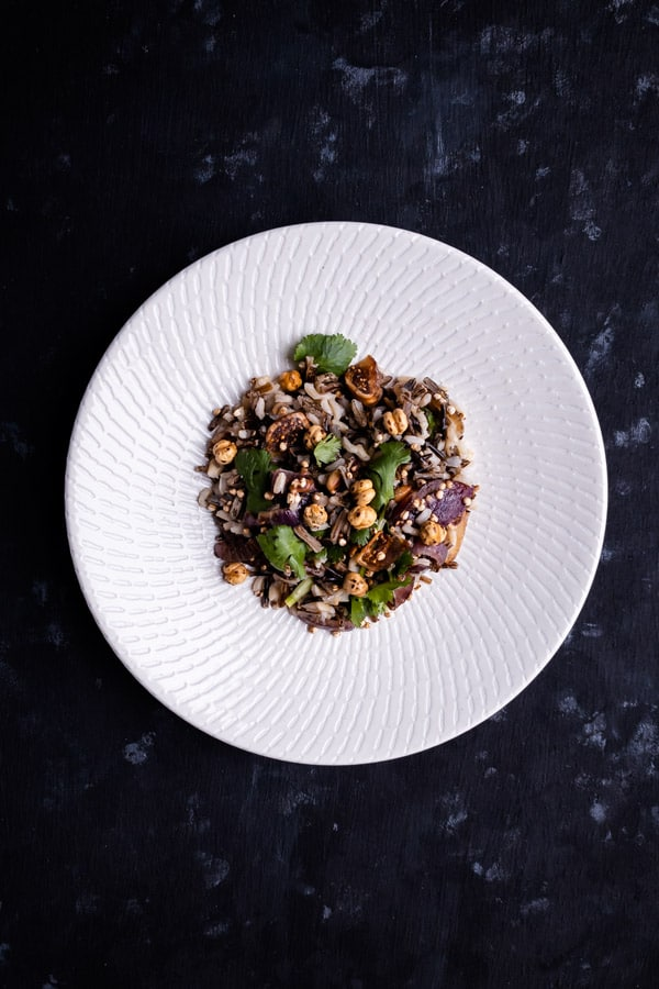 Vegan Wild Rice Salad with Puffed Quinoa and Dried Figs