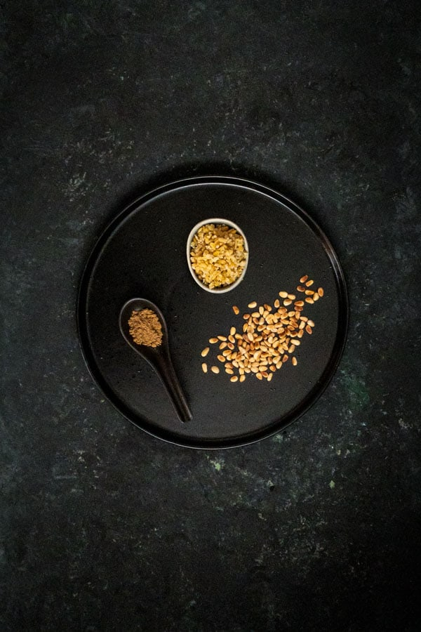 Pine nuts, freekeh and cumin powder