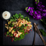 Roasted Cauliflower Salad with Chestnuts and Pomegranate