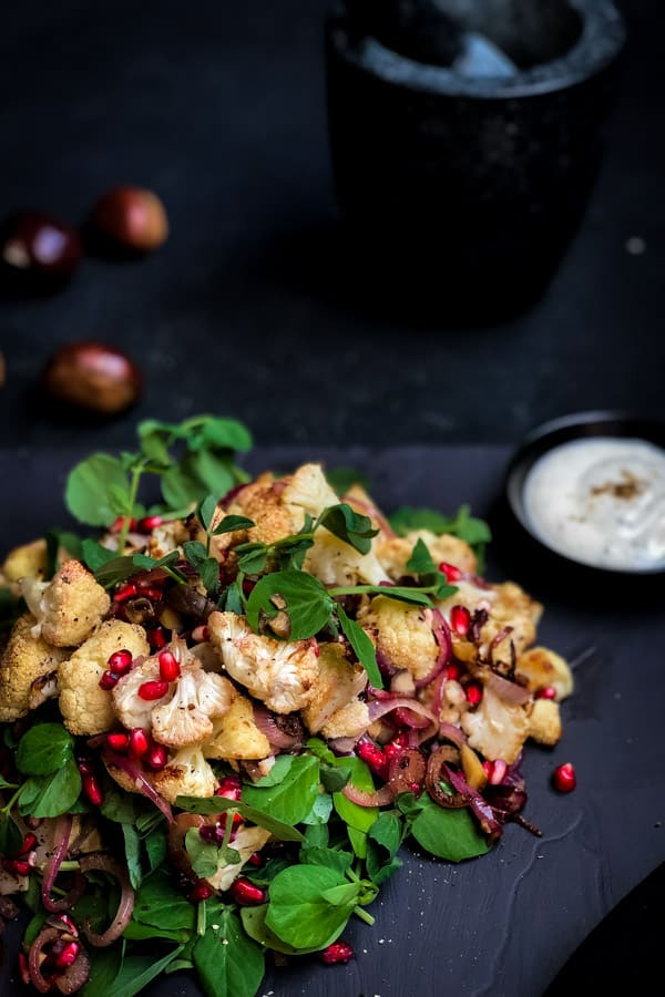 Pomegranate Cauliflower Salad with Chestnuts