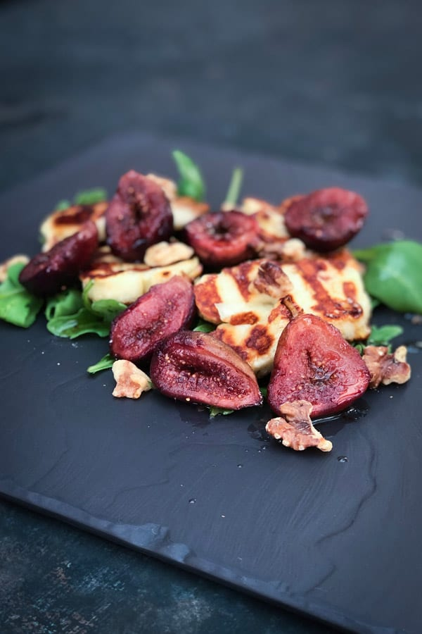 Balsamic Honey Roasted Figs and Halloumi Salad