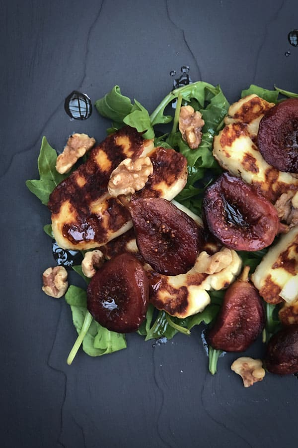 Balsamic Roasted Figs and Halloumi Salad