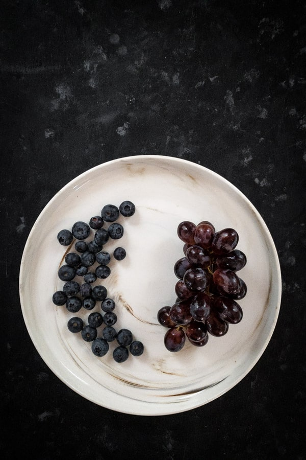 Blueberry Salad with Plum Wine Infused Dragonfruit