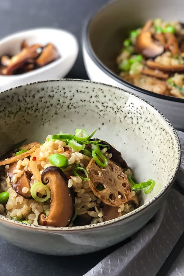 Pickled Shiitake Mushrooms, Lotus Roots and Brown Rice Salad