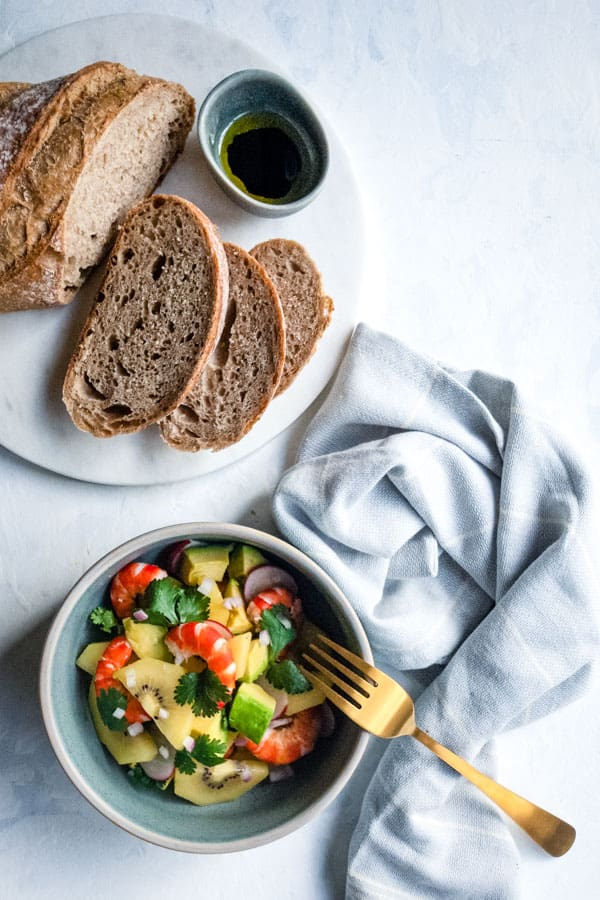Prawn and Avocado Salad with Golden Kiwi served with bread