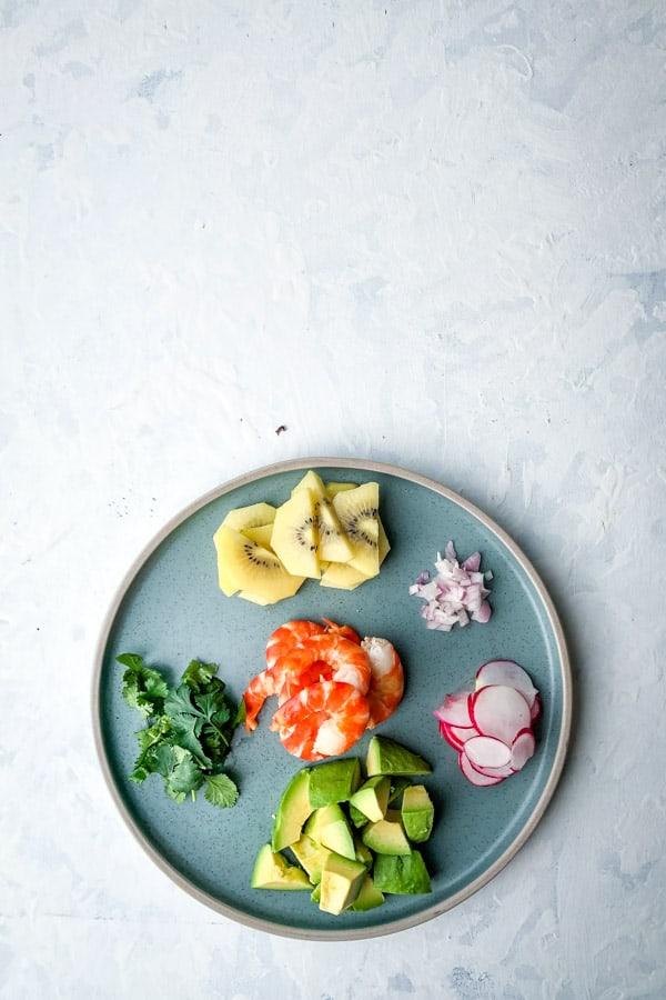 Gold Kiwi Shallots Radish Avocado Prawn Blue Plate