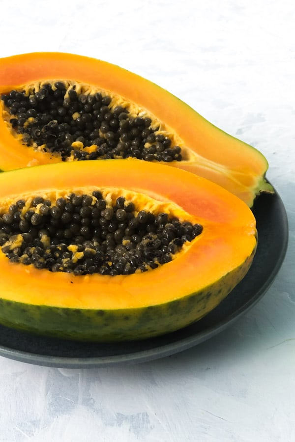 Red Papaya Cut Half with Seeds