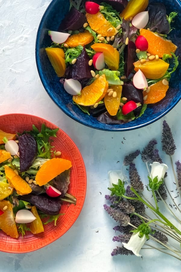 Roasted Beetroot Salad with Tangelo and Pine Nuts