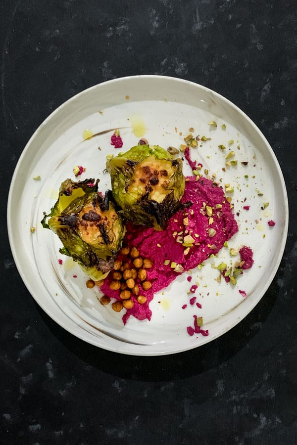 Baby Cauliflower and Spiced Chickpeas with Beetroot Tahini