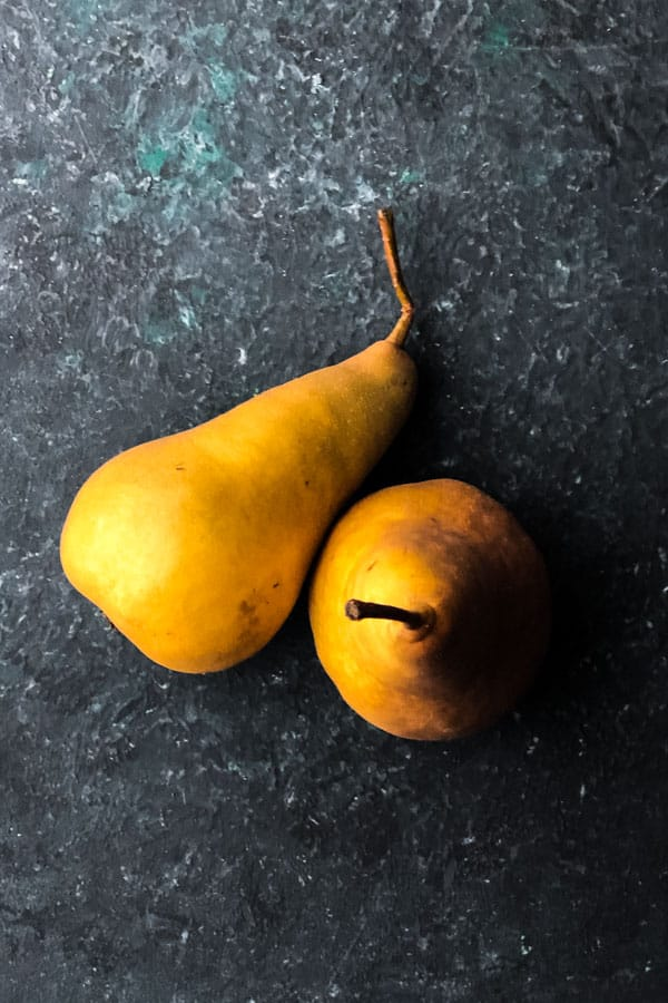 Balsamic maple glazed pears