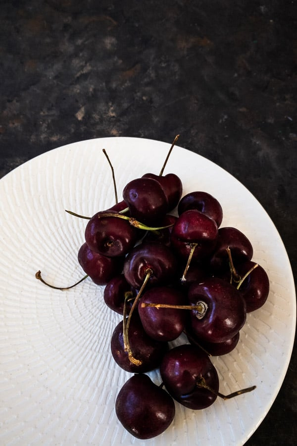 Whole cherries with stem for tamarillo salad