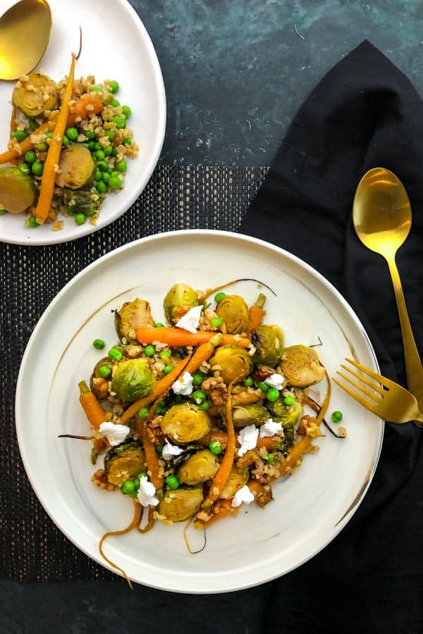 Roasted Brussels Sprouts Salad with Dutch Carrots