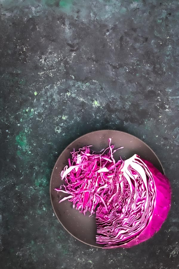 Red Cabbage for Asian Apple Slaw