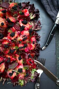Beetroot Cured Salmon Salad with Black Fish Roe