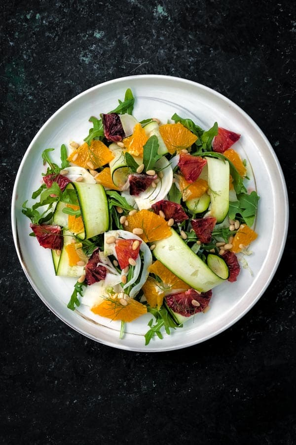 Fennel and Courgette Salad with Toasted Pine Nuts