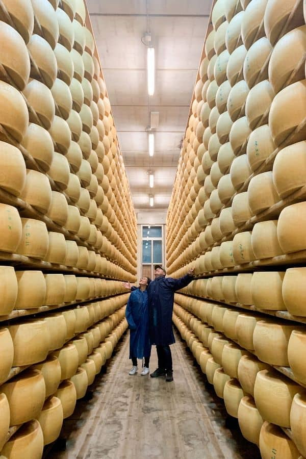 Thousands of parmesan cheese wheels in maturation room in Reggio Emilia