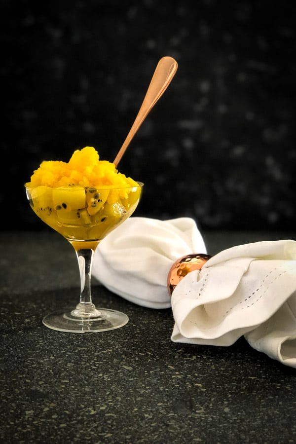 Passionfruit and Kiwi Salad with Tangelo Granita