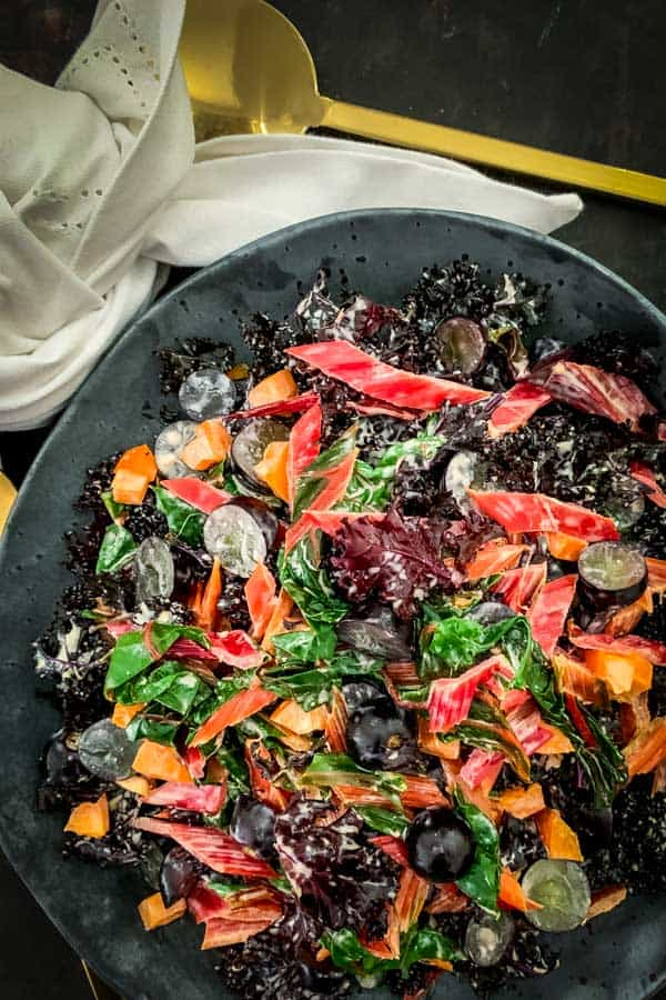 Purple Kale Salad with Rainbow Chard.