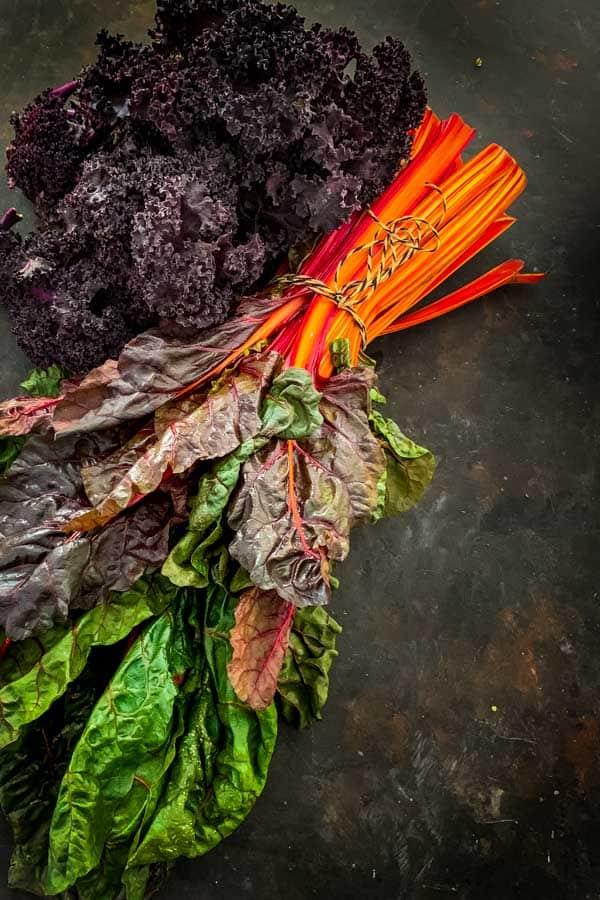 Rainbow chards and purple kale salad
