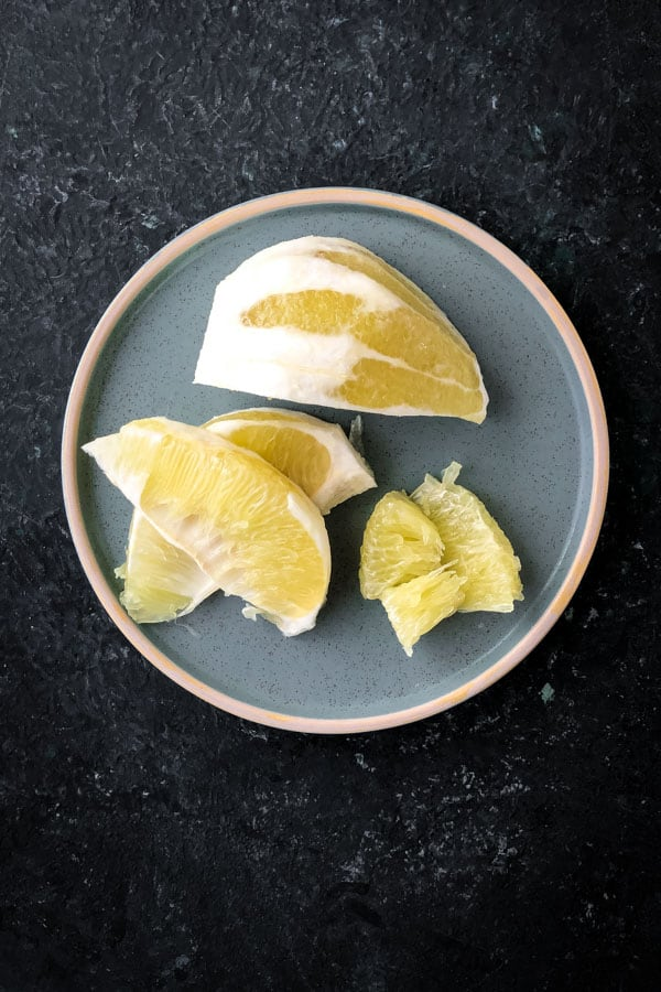 Cut white pomelo for thai pomelo salad