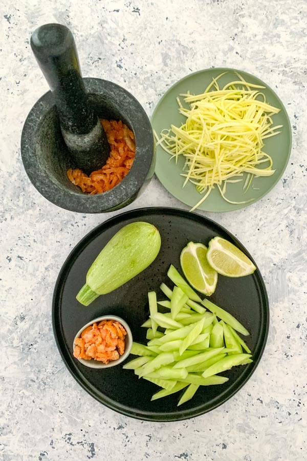 Zucchini and Cucumber Salad with Dried Shrimp
