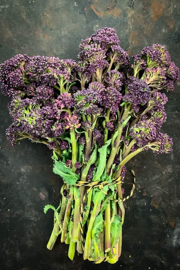 Purple broccolini in a bouquet
