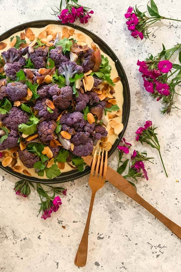Purple Cauliflower Salad with Lemon Mustard Tahini