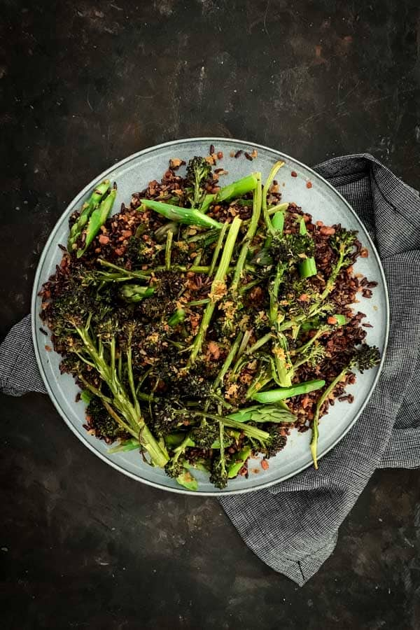 Rustic Black Rice Salad with Purple Broccolini
