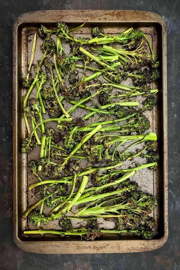 Roasted sheet pan purple brocollini