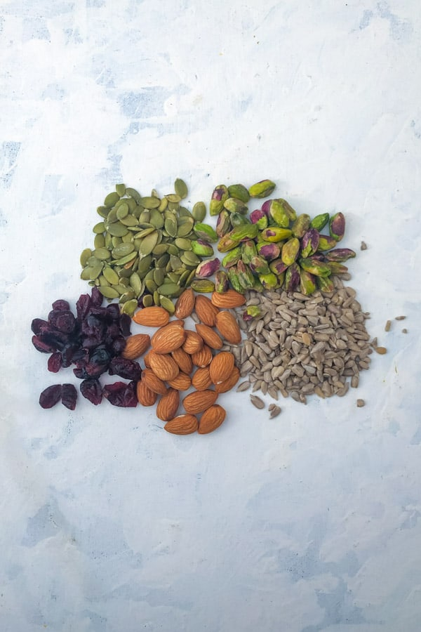 Dried cranberries, almonds, sunflower seeds, pistachios, pepitas