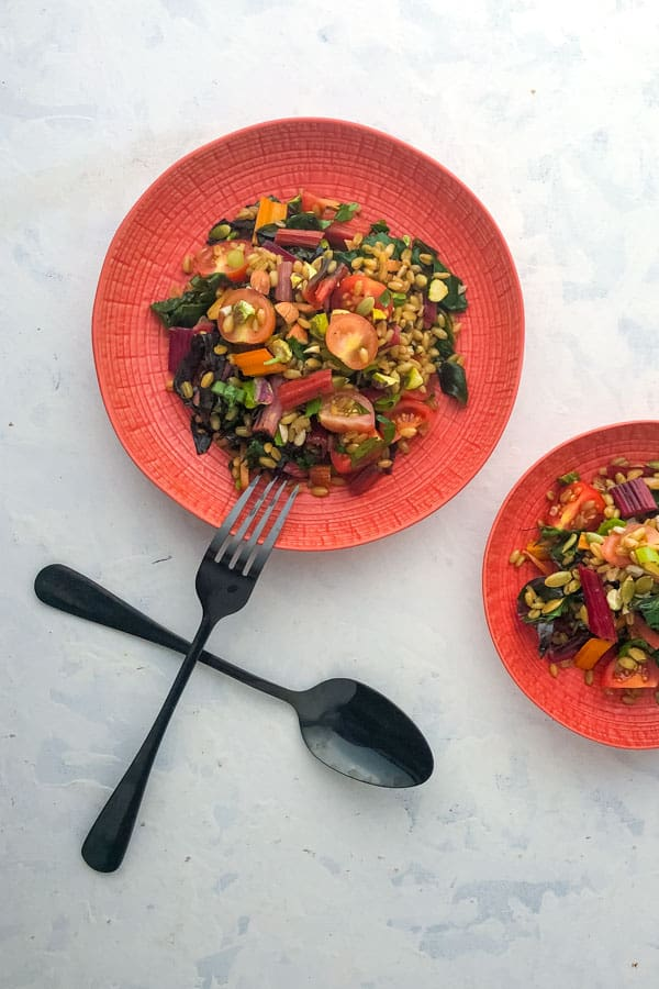 Rainbow Chard Salad with Freekeh and Pistachios
