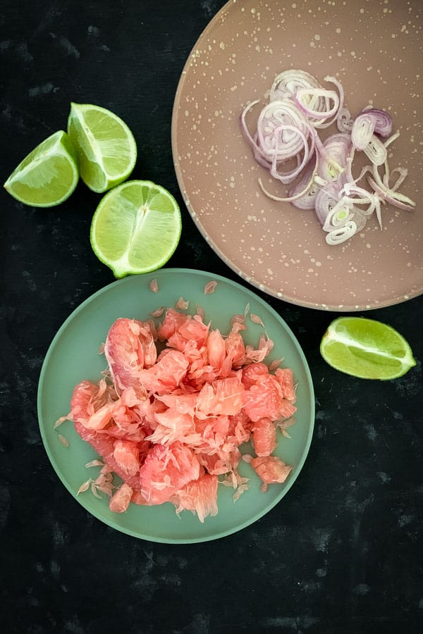 Red Pomelo Shallots Ceviche Salad