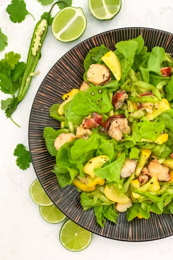 Lobster Tail Salad with Mango Dressing