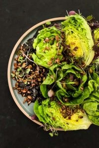Roasted Tamari Seeds with Lettuce Salad