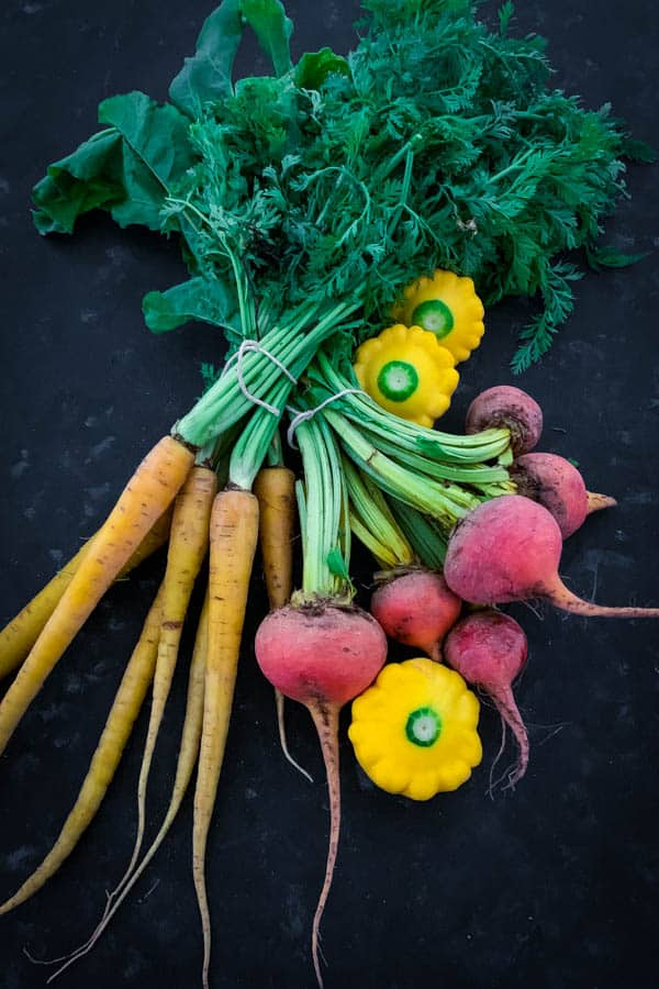 Yellow carrots, squash and golden beetroot